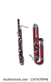 bassoon and contra-bassoon isolated on white background flat lay