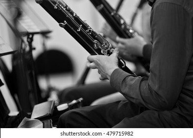 Bassoons in the orchestra closeup in black and white