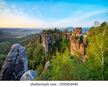 Bastei Bridge and Rock Formations in the Elbe River Valley at Dawn, Saxon Switzerland National Park, Germany