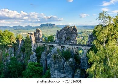 Bastei Bridge in the Saxon Switzerland. Germany, Saxony