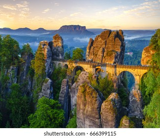 The Bastei bridge, Saxon Switzerland National Park, Germany