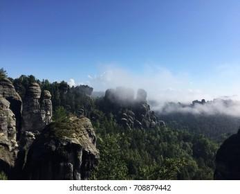Bastei mountains in Saxony, Germany