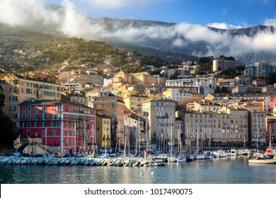 Bastia, a beautiful city on the island of Corsica, France, a view of the historic center of the city, a port with boats and yachts. A popular destination for traveling in Europe