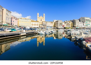 BASTIA, FRANCE - OCTOBER 19, 2014: Scene of the old port (the Vieux Port), in Bastia, Corsica, France. Bastia is the biggest city in Corsica