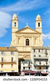 BASTIA, FRANCE - September 17, 2016: St. Jean Baptiste church in the old harbor in Bastia, Corsica, France.