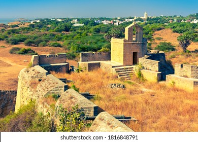Bastion of Diu Fort. Daman and Diu, India
