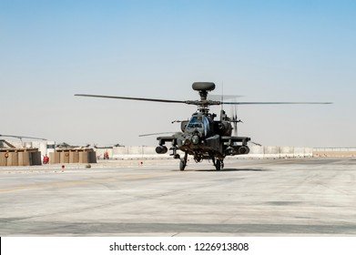 Bastion,Helmend/Afghansitan  -Circa 2010     :         AH 64 Longbow Apache attack helicopter  British Army Air Corp  , during Operation Herrick