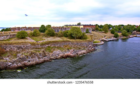 Bastions of finnish fortress Suomenlinna or sweeden name Sveaborg at the coast of Baltic sea in Helsinki, Finland