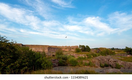 Bastions in Suomenlinna, Castle of Finland in English, an island fortress in the Gulf of Finland, protecting the capital city of Helsinki. Suomenlinna is an UNESCO World Heritage Site.