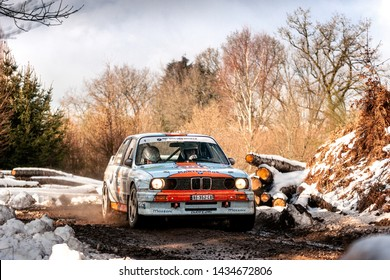BASTOGNE - FEB 2 : Belgian driver Marc Duez and his codriver Jacques Castelein in a BMW M3 E30 race in the Legend Boucles a Bastogne 2019, on Feb 2, 2019 in Belgium.