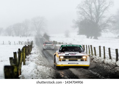 BASTOGNE - FEB 2 : Belgian driver Marc Ver Eecke and his codriver Tom Gesquiere in an Audi Quattro Sport S1 E2 race in the Legend Boucles a Bastogne 2019, on Feb 2, 2019 in Belgium.