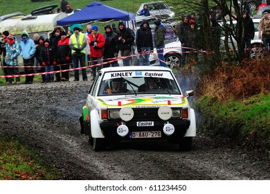 BASTOGNE - FEB 20 : Belgian driver Bernard Dressen and his codriver Alex Paquay in a Talbot Sunbeam TI 1.6 race in the Legend Boucles a Bastogne 2016, on Feb 20, 2016 in Belgium.