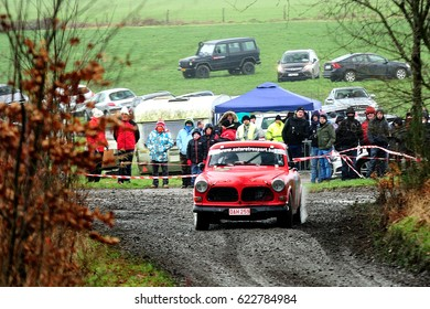 BASTOGNE - FEB 20 : Belgian driver Bernard Lamy and his codriver Nathalie Docquier in a Volvo 122 S race in the Legend Boucles a Bastogne 2016, on Feb 20, 2016 in Belgium.