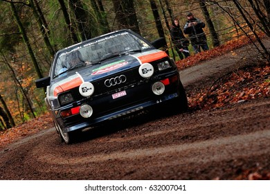 BASTOGNE - FEB 20 : Belgian driver Rene Franchi and his codriver Christian Bernard in an Audi Coupe Quattro race in the Legend Boucles a Bastogne 2016, on Feb 20, 2016 in Belgium.