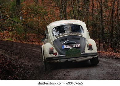 BASTOGNE - FEB 20 : Belgian driver Bernard Vidick and his codriver Philippe Hazee in a Volkswagen 1302 race in the Legend Boucles a Bastogne 2016, on Feb 20, 2016 in Belgium.