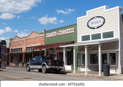 BASTROP, TEXAS - AUGUST 12 2017: 3 small shops that still have that old historic Texas touch