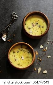 Basundi / Kesar rabri - Diwali dessert  made of milk  dry fruits and saffron