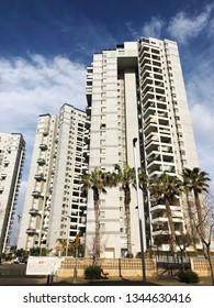 BAT YAM, ISRAEL- FEBRUARY 10, 2019: High residential buildings in Bat Yam, Israel