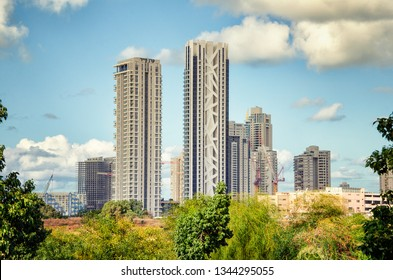 Bat Yam, Israel-December 25, 2017: A view at Park Hayam development project consisting of the several living towers in the city. Taken from the border of Rishon LeTsiyon.