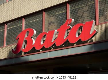 BATA signage on a Store in Brno, Czech Republic, 24th February 2018