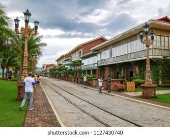 Bataan, Philippines - Jun 30,2018 : Tourist walking street at Las casas filipinas