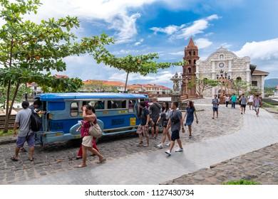 Bataan,Philippines - Jun 30,2018 : Tourists ride on jeepney at Las casas filipinas