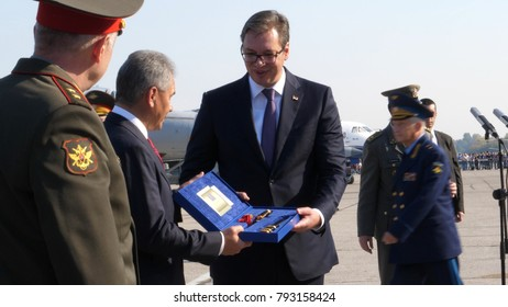 Batajnica Air Base, Belgrade 20 October 2017. Russian Defense Minister Army General Sergei Shoigu and the President of Serbia Vucic. Russia officially delivered six Mikoyan MiG-29 fighters to Serbia
