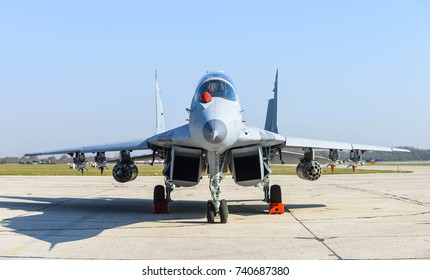 Batajnica, Serbia - October 20, 2017: MiG-29 jet fighter are parked on runway during the air show, dubbed Sloboda 2017 (Freedom 2017) at Batajnica.