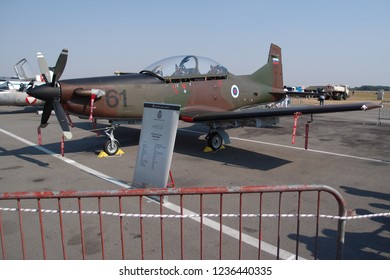 Batajnica, Serbia - September 2nd 2012: Slovenian Air Force Pilatus PC-9 M Hudournik on display