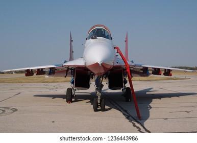 Batajnica, Serbia - September 2nd 2012: Russian Aerobatic Team Strizhi MiG-29 on display