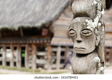 Batak ancient sculptures carved from wood of the village in the area of the Toba lake. Samosir Island, Indonesia