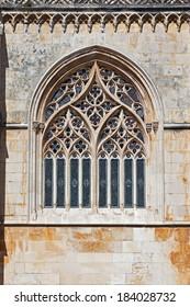 Batalha Monastery. Tracery Gothic window in Capela do Fundador (Founders Chapel). Portugal. UNESCO World Heritage Site.
