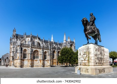 Batalha, Portugal, August 10, 2017: Statue of General Nuno Alvares Pereira commemorates his 1385 victory over the Castilians in the Battle of Aljubarrota. Sculpted by Leopoldo de Almeida in 1961.