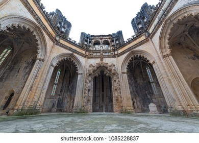 BATALHA, PORTUGAL - FEBRUARY 25, 2017: Monastery of Santa Maria da Vitoria, Monastery Church of Batalha, Mosteiro da Batalha, UNESCO World Cultural Heritage Site