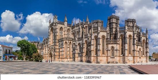 Batalha, Portugal - July 17, 2017: Monastery of Batalha aka Monastery of Santa Maria da Vitoria. View of the Capelas Imperfeitas (Unfinished Chapels). Gothic and Manuelino aka Manueline style