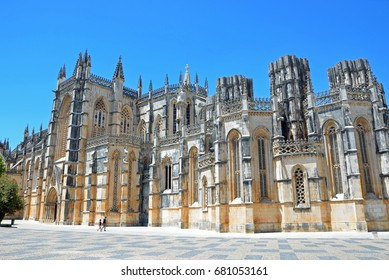 BATALHA, PORTUGAL - JULY 3, 2017: Monastery of Batalha is a Dominican convent that was built to commemorate the victory of the Portuguese over the Castilians at the battle of Aljubarrota in 1385.