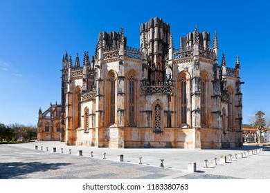 Batalha, Portugal. Monastery of Batalha aka Monastery of Santa Maria da Vitoria. View of the Capelas Imperfeitas (Unfinished Chapels). Gothic and Manuelino aka Manueline style