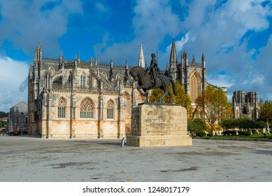 BATALHA, PORTUGAL - NOVEMBER 20, 2018: The Monastery of Batalha, literally the Monastery of the Battle, is a Dominican convent in the municipality of Batalha, in the district of Leiria,