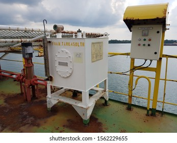 Batam, Indonesia - December 18, 2018. Condition of foam system for fire fighting of helicopter emergency crash during an inspection by client while she berthed at shipyard
