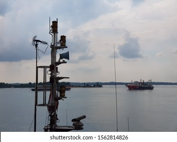 Batam, Indonesia - December 18, 2018. Condition of a masthead of an anchor handling tug boat during an inspection by a client while she berth at a shipyard