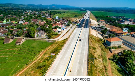 Batang, Central Java / Indonesia - July 1, 2019: Scenic Aerial View of Trans Java Toll Road in The Morning