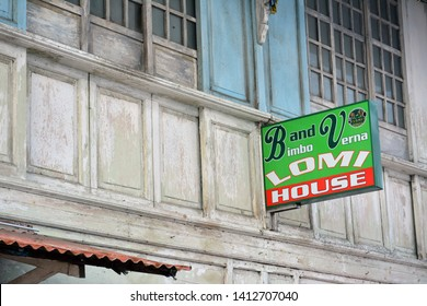 BATANGAS, PH - MAY 4: Bimbo and Verna Lomi Noodle House signage on May 4, 2019 in Taal, Batangas, Philippines.