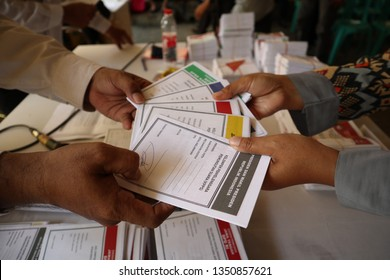 Batang,Central Java/Indonesia - 27 March 2019 : Election organizers hold ballot voting training