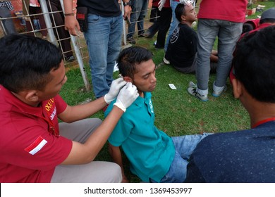Batang,Central Java/Indonesia - 29 ‎April ‎2018 : ball fans suffered injuries due to riots