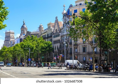 BATCELONA, SPAIN - MAY 12, 2017: This is Passeig de Gracia, which is located in the Eixample district and is one of the most important and famous streets of the city.