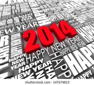 Batch of 3D text. Happy new year 2014