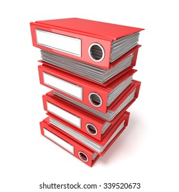 Batch of binders, red office folders. 3D render illustration isolated on white background