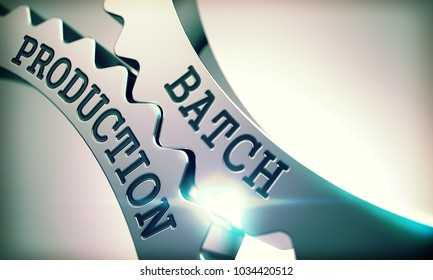 Batch Production - Illustration with Glowing Light Effect. Batch Production on the Mechanism of Shiny Metal Gears with Glow Effect - Communication Concept. 3D Render .