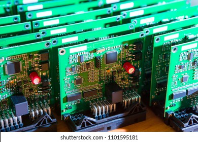 Batch of Ready to Use Printed Circuit Boards with Surface Mounted Components. Horizontal Image Composition