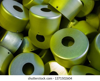 a batch of sulfur oxidated anodized aluminium parts